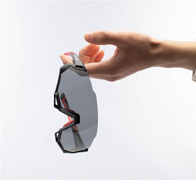 ROCKBROS Sportbrille UV400 Sonnebrille Vollformatbrille Verfärbung Schwarz Rot