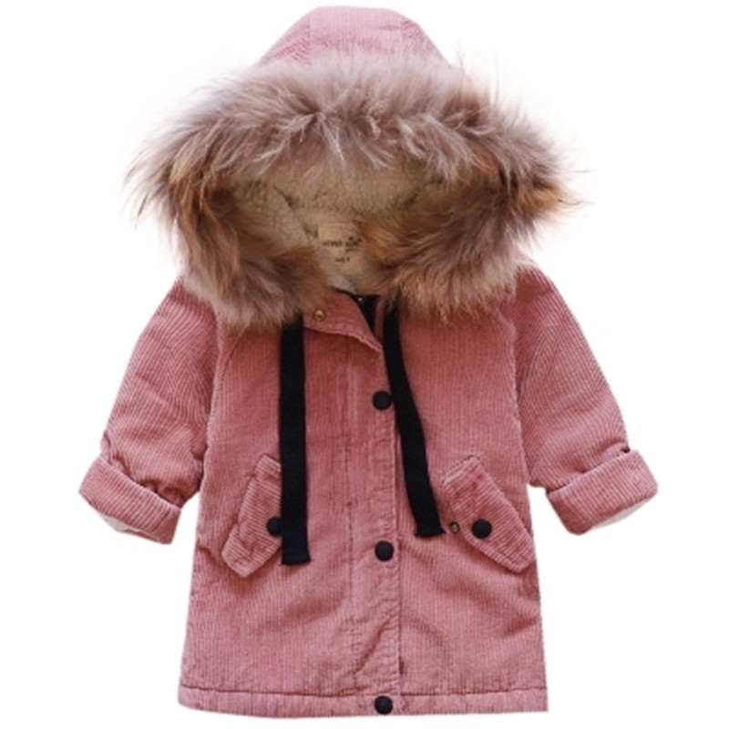 2017 New Winter baby corduroy Children jacket Thick Velvet FUR Kids Outweater with hooded warm Casual Kids Girl Coat new winter jacket women 2017 casual parka long coat corduroy natural raccoon fur collar hooded warm thick real wool liner parkas