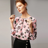 100% шелк точка печати Пуловеры Блузка 2019 новые женские весенние Рубашки