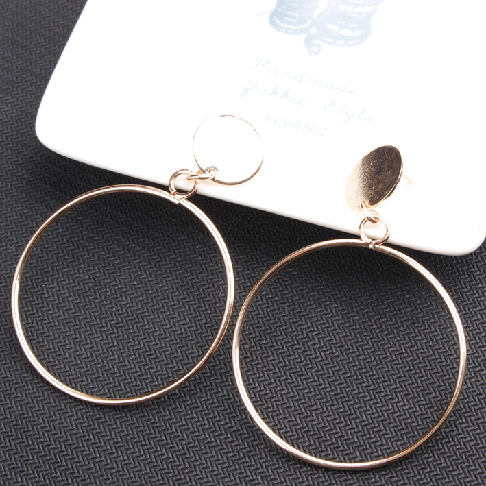 2019 earrings for women fashion big hollow drop earrings Simple gold color Silver plated geometric big round fashion jewelry in Drop Earrings from Jewelry Accessories