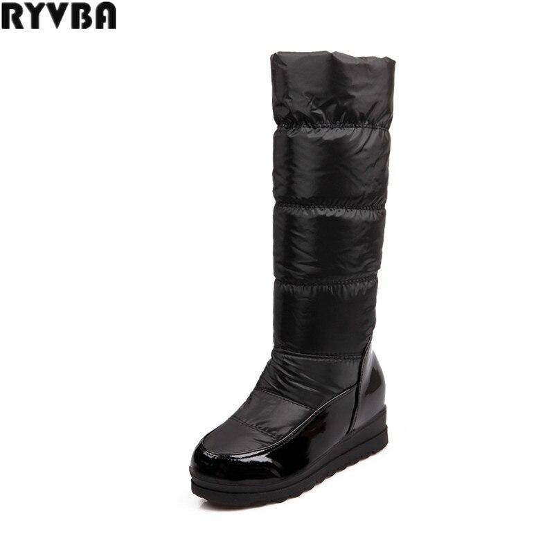 RYVBA woman knee high snow boots fashion thigh high boots winter women thick plush warm womens platform female flats plush size