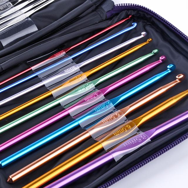 NEW 22 Pc/Set Multi Stainless Steel Needles Crochet Hooks Set Knitting Needle Tools With Case Yarn Craft Kit