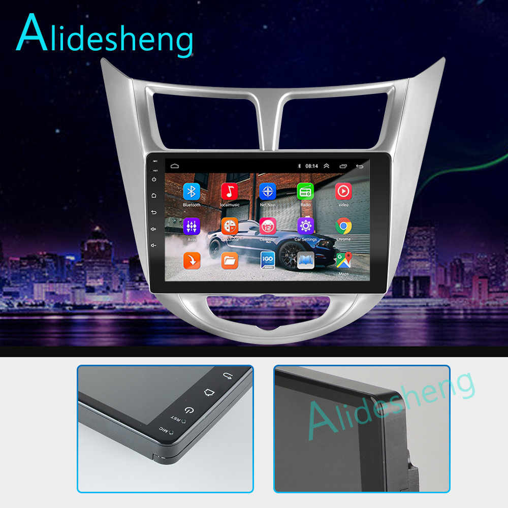 2G + 32G 2.5D 2Din Android 8.1 GO araba multimedya oynatıcı GPS Hyundai Solaris Verna Accent için 2011 2012 2013 2014 2015 2016 WiFi BT