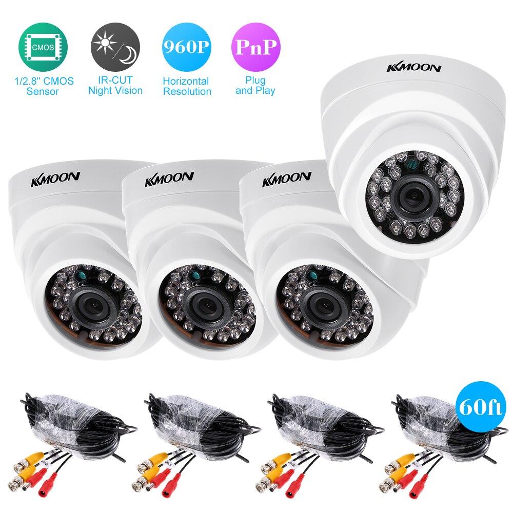 KKmoon 4CH 1080P AHD DVR Video Recorder 4pcs 960P AHD Dome IR CCTV Camera System