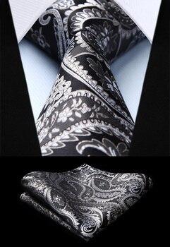 رجل التعادل الكلاسيكية بيزلي رمادي الفضة المنسوجة رباط عنق من الحرير منديل مجموعة TF4015L8S