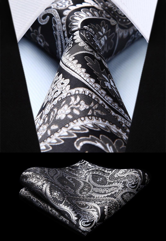 Mens Tie Classic Paisley Grey Silver  Woven Silk Necktie Handkerchief Set TF4015L8S