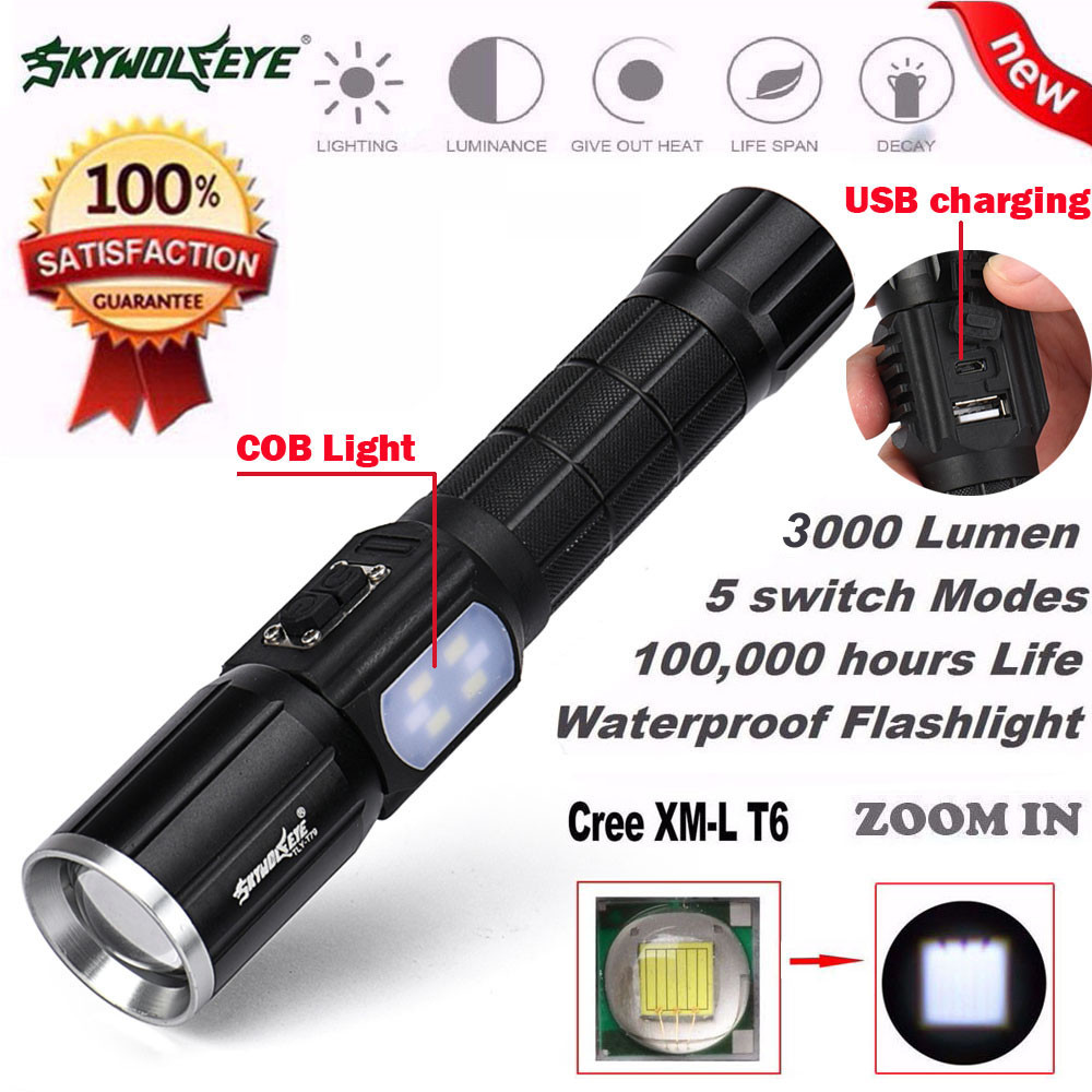 3000Lumen 5 Modes Zoomable T6 LED 26650 Flashlight Focus Torch Lamp Linght COB