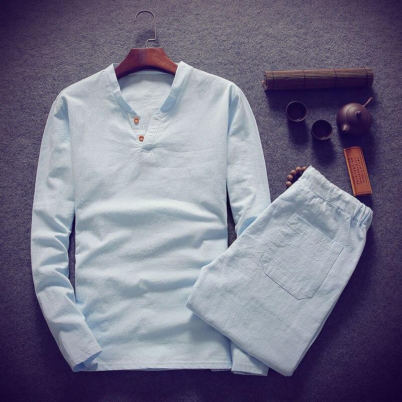 (Рубашка + брюки) 2019 Весенняя Мужская рубашка человек хлопок и мужские льняные рубашки высокого качества повседневные модные рубашки мужски...