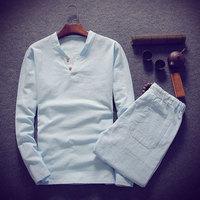 (Shirt + trousers) 2019 spring men shirt Man Cotton and linen shirts men's High quality of casual fashion shirts men size M 5XL