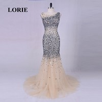 LORIE Luxury Evening Dresses for Women Bling Bling Elegant Prom Gown O Neck Beading Rhinestones Mermaid Crystal Party Dress 2018