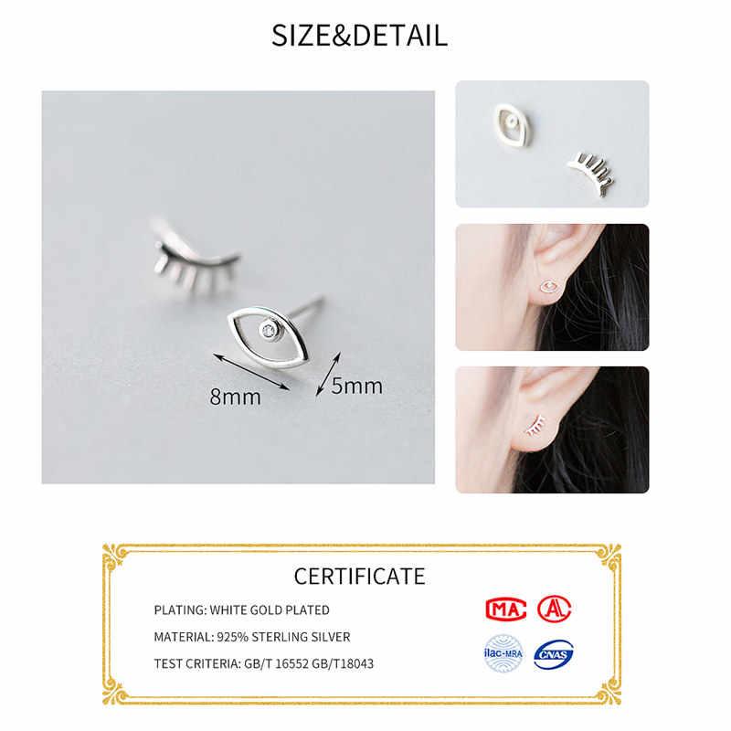 Inzatt Punk 2018 Real 925 Sterling Silver Asimetri Mata Bulu Mata Stud Anting-Anting untuk Wanita Pesta Fine Perhiasan Bijoux