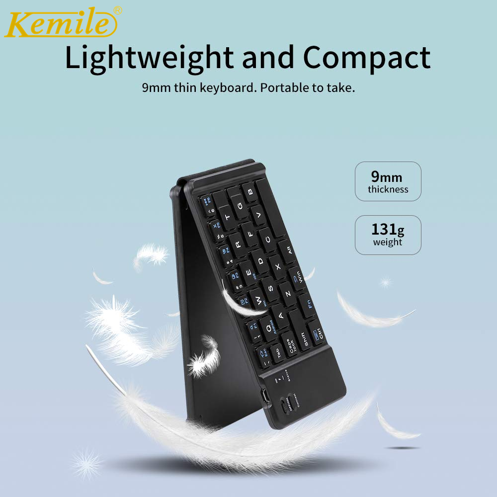 Kemile Business Folding Bluetooth Keyboard BT Wireless Folding Keypad For IPad IOS/Android/Windows Tablet Russian Spanish Arabic