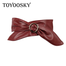 TOYOOSKY Fashion PU Leather Belt for Women Wide Soft Circle Buckle  Waistband Body Shaping Bands Belts All Match