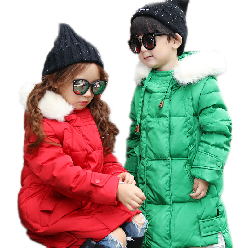 winter jacket boy girls solid candy color kids winter parka coat medium long hooded kids winter parka white duck down kids coat winter girl jacket children parka winter coat duck long thick big fur hooded kids winter jacket girls outerwear for cold 30 c