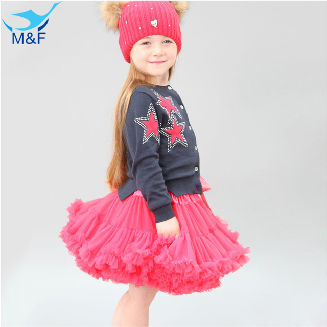 M&F Girls Fluffy Lace Princess Skirt Dance Party Pettiskirt Solid Colors Tutu Girl Skirts Rainbow Candy Floral Silk Ballet Skirt