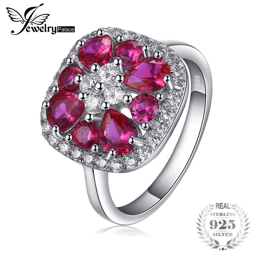 Ruby Wedding Gifts For Her: JewelryPalace Classic 2.8ct Created Ruby Ring 925 Sterling