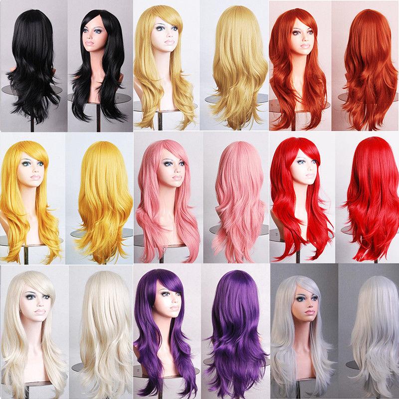 SNOILITE largo ondulado fiesta Cosplay peluca fibra resistente al calor mujeres Natural pelo sintético completo pelucas Color Natural