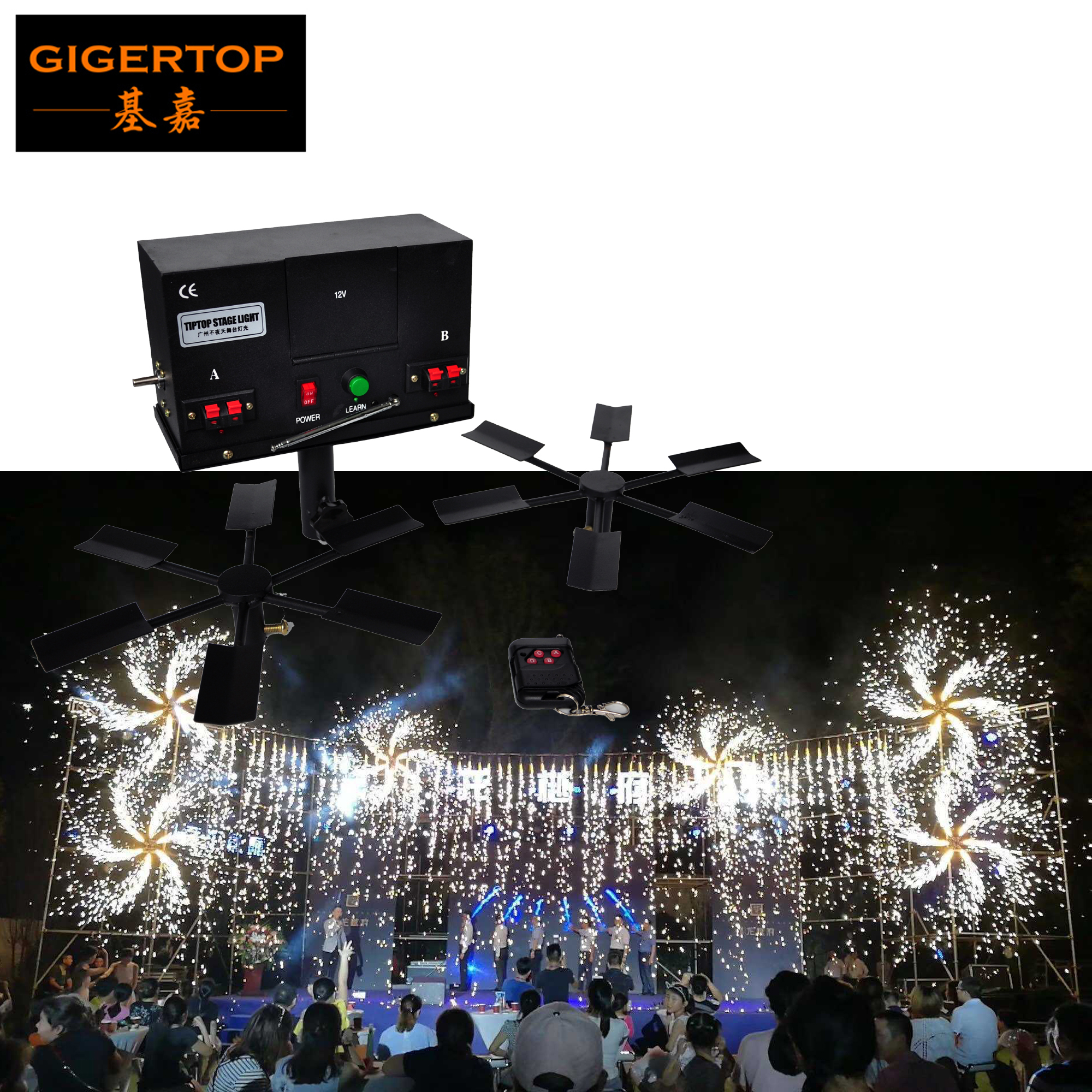 Gigertop TP-T100 Double Wing Fountain Fireworks Firing System No.5 Battery Power Supply Rotate Fireworks Machine Double Wing