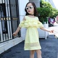 Hurave Girls Dress 2017 New Koran Style Summer Dress For Girl Hot Sale Robe Fille Ruffles