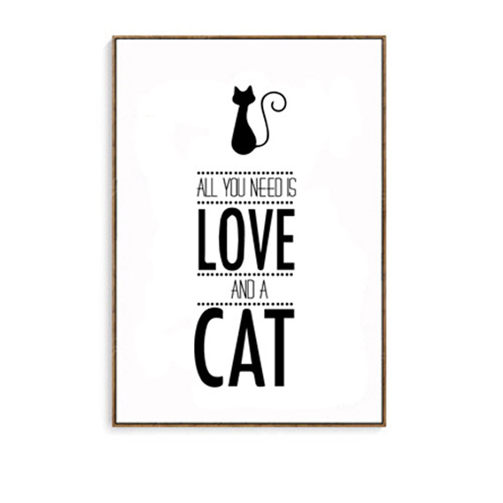 Color printing quotes - Canvas Prints All You Need Is Love And Cat Quote Wall Pictures For Home Decoration No
