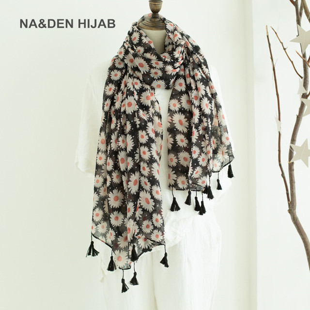 c7f69b17f New 2018 women daisy flower scarf shawl black long tassel popular floral  scarves and shawls bohemina
