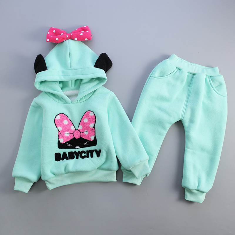 Baby Girls Minnie Clothes Set Kids 2018 New Fashion Cartoon Minnie Plus Velvet Hodded Clothing Set Children Bow Sports Suit Set 1 4y spring autumn children clothing set girls sports suit baby girls tracksuit cartoon minnie children clothes set kids