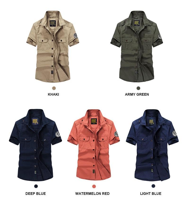 High-Grade Men Brand Clothing 2016 Hot Summer Dress Short Sleeve Shirts Straight Casual Fashion Shirts M~4XL AFS JEEP Pockets (7)