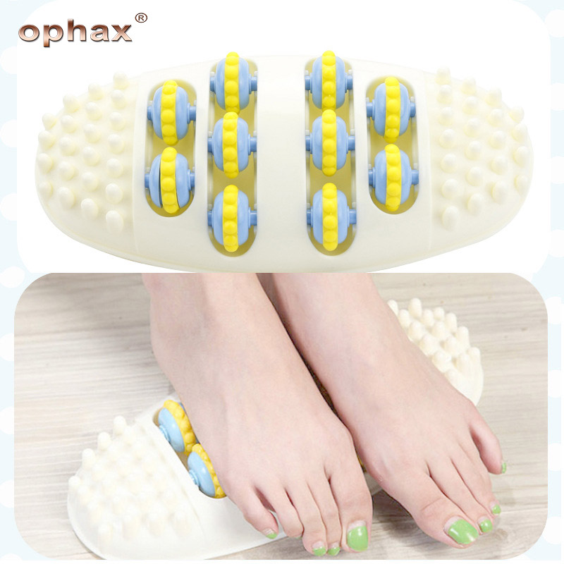 OPHAX Plastic Foot Massager 4 Row Roller Roller Massage Tools Stress Relief Acupoint Massager Health Care Relaxation Products reflexology walk cobblestone pain relief foot massager tcm foot acupoint massage relax mat pad square cushion beauty health care