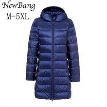 Newbang 5XL Женские Длинные зимнее теплое пальто Для женщин Ультра легкое белое утка Пух куртка с сумкой женские пальто ветровка