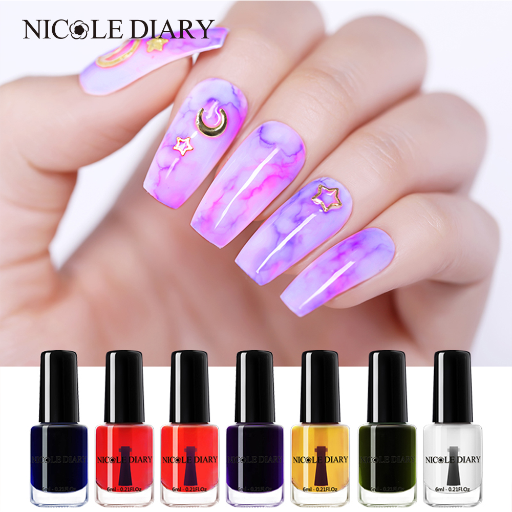 NICOLE DIARY Watercolor Ink Nail Polish Blooming Polish Gel Smoke Effect Smudge Bubble DIY Varnish  Decoration