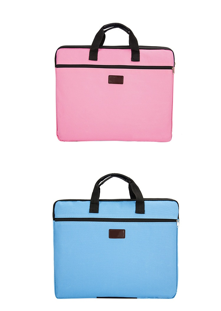 Portable document bag canvas A4 office zipper bag large capacity men women handbag multi-layer information bag briefcase meeting