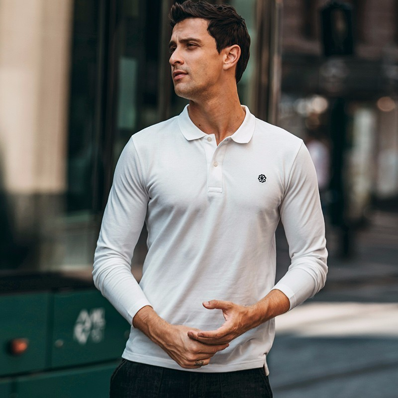 Autumn Men   Polo   Shirt 100% Cotton Embroidery Black Blue White For Man Fashion Long Sleeve Slim Clothing 2018 New Male Tops 2627