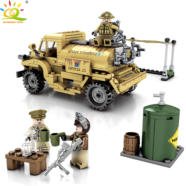 HUIQIBAO TOYS 284pcs Army CAN CMP C15A Truck Building Blocks For Children Compatible Legoingly Military Vechile Soldiers bricks