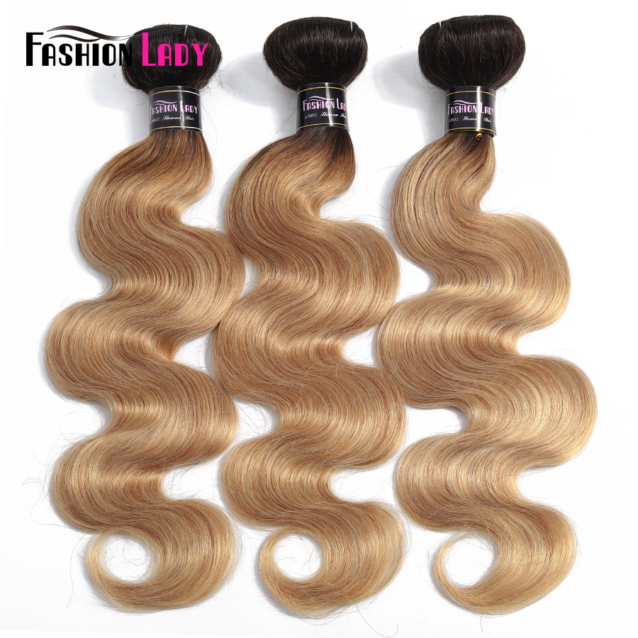 Fashion Lady Pre-Colored Peruvian Body Wave Bundles Human Hair Weave Dark Blond Ombre Bundles 1/3/4 Bundle Per Pack Non-Remy