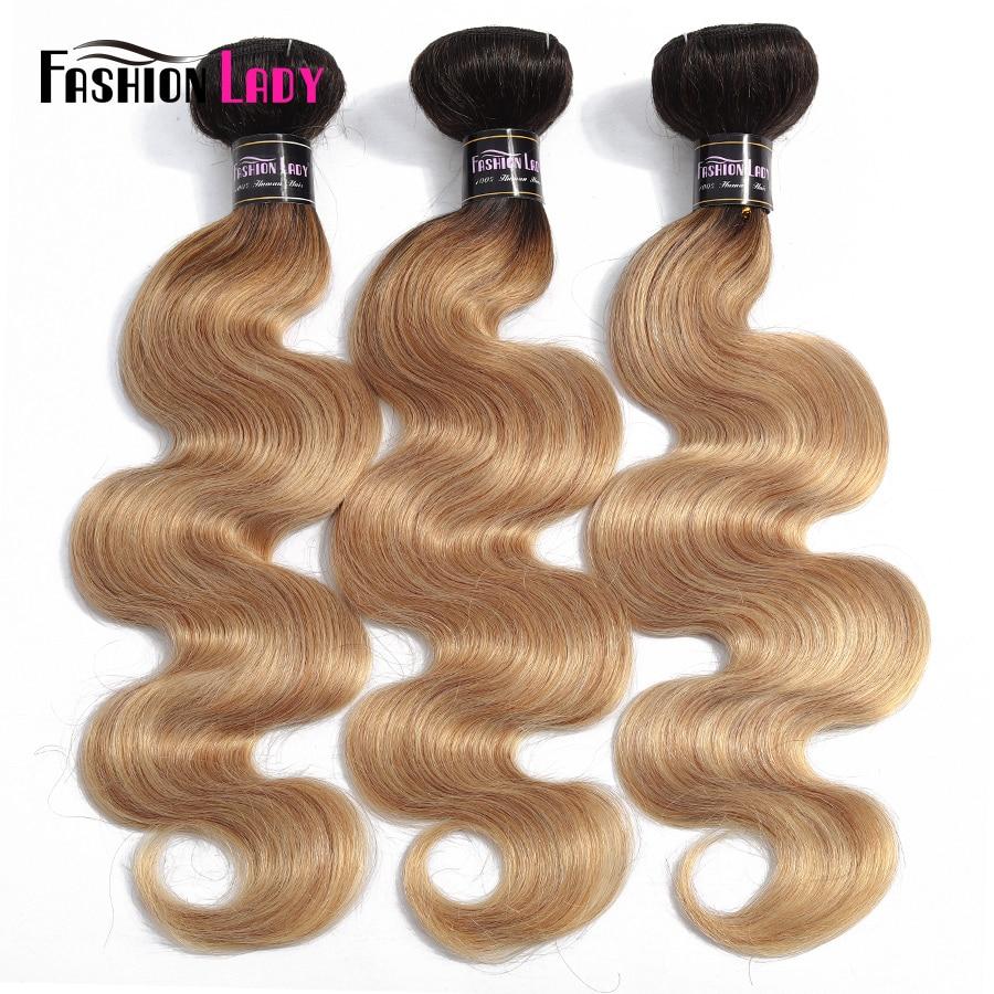 Fashion Lady Pre-Colored Peruvian Body Wave Bundles Human Hair Weave Dark Blond Ombre Bundles 1/3/4 Bundle Per Pack Non-Remy