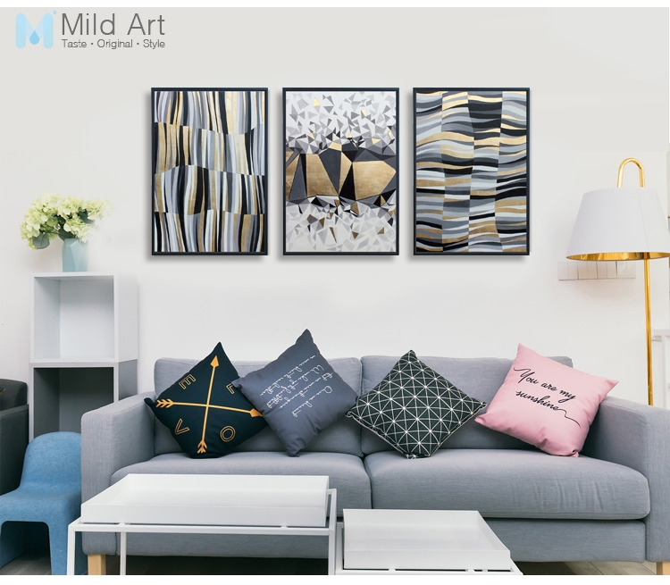 Us 3 46 45 Off Modern Abstract Black Gold Geometric Shape Posters Prints Nordic Style Living Room Wall Art Pictures Home Decor Canvas Paintings In