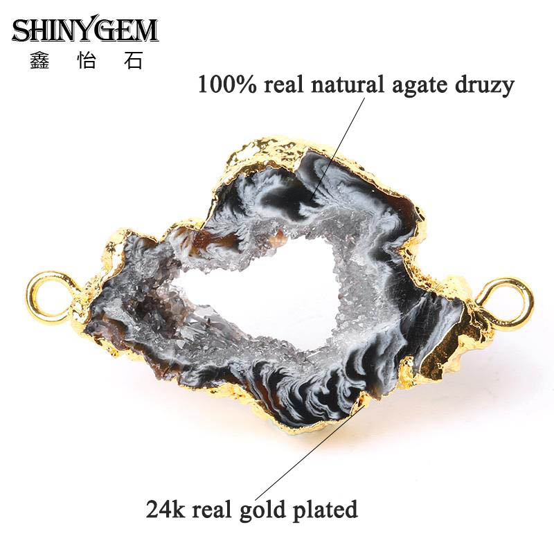 Hot Sale Druzy Natural Druzy Agates Pendant Stone Agates Connector Irregular Open Agates Geode Druzy Connectors Drusy Jewelry