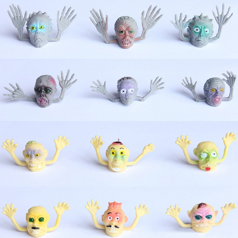 6Pcs/Lot Novelty PVC Ghost Finger Puppet For Telling Stories Halloween Funny Toy Action Figure Toy Children Gift Random Style