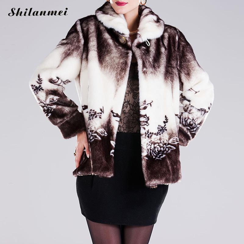 2016 Brand Winter floral Coat Women Outerwear Jackets Casacos Femininos Fake Fur Plus Size Vintage Artificial Faux Fox Cloak
