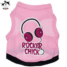 Pink Headphone Pattern Dog Vests Ultrathin Breathable Summer Clothes For Puppy Dogs Underwaist Gilet Sleeveless Shirt Garment