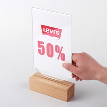 A6 Hot Sale Quality Thick Wood base Unique Design Easy Used Clear Acrylic Table Menu Sign Holder Display Stand Frame