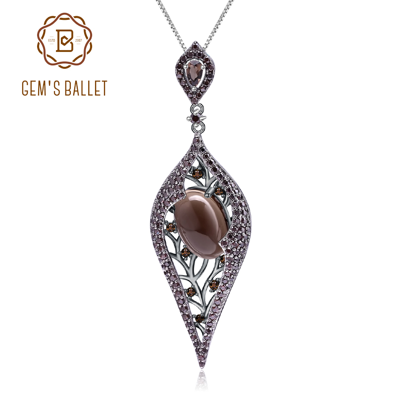 GEM'S BALLET 925 Sterling Sliver Natural Smoky Quart Gemstone Vintage Gothic Punk Pendant Necklace For Women Party Jewelry