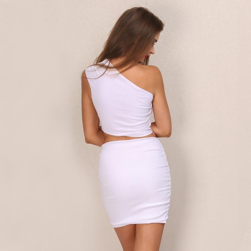 One Shoulder 2 Piece White Bodycon Dress 3
