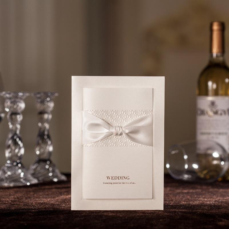 Unique Wedding Invitation Cards Classic White Giant Silk Tie