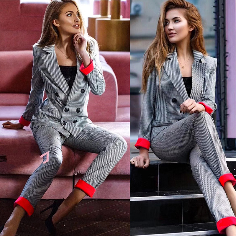 Fashion Women Cuff roll long pants blazers sets