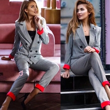 Chic costume Autumn Double Breasted Office Ladies Plaid Blazer suits sets Fashion Women Cuff roll long pants blazers sets(China)