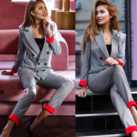 Chic costume Autumn Double Breasted Office Ladies Plaid Blazer suits sets Fashion Women Cuff roll long pants blazers sets