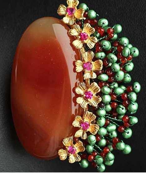 Semi-precious Stone Brooch Pendant double use Flower Fashion Jewelry Women Brooch Bouquet Free Shipping недорго, оригинальная цена