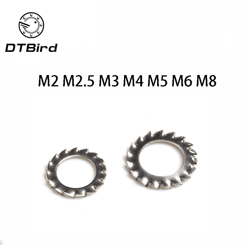 M12 External Tooth Lock Washer Gasket M12\M14\M16\M20 Stainless Steel Silver Tone 20 Pcs