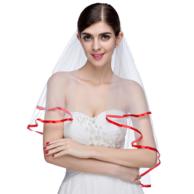 Gorgeous New Arrival 2016 Elegant Two-Layer Wedding Veil  White Red Ribbon Edge Bridal Veils Wedding Accessories With Comb
